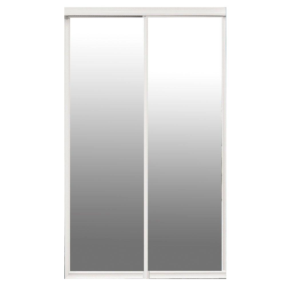 Contractors wardrobe majestic 84 in x 96 in white frame for Indoor sliding doors