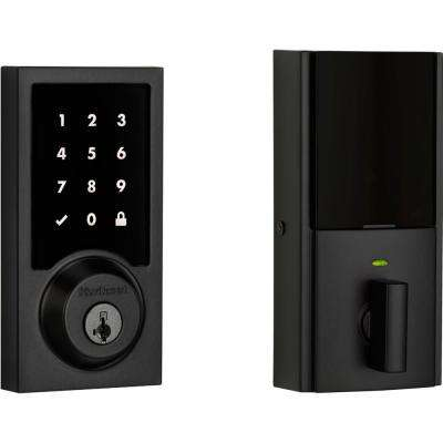 Premis Contemporary Touchscreen Smart Lock Matte Black Single Cylinder Electronic Deadbolt Featuring SmartKey Security
