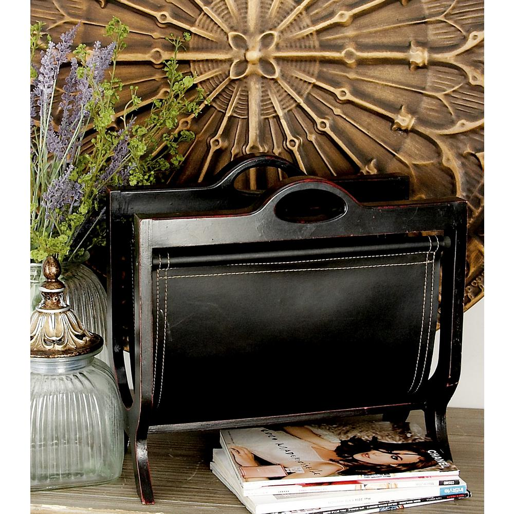 Burnished Deep Espresso Wood and Leather Freestanding Magazine Rack