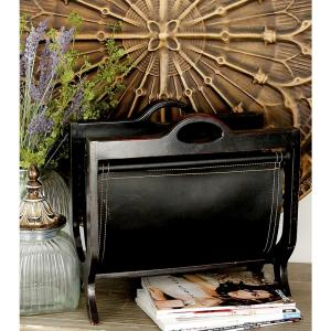 Burnished Deep Espresso Wood and Leather Freestanding Magazine Rack by