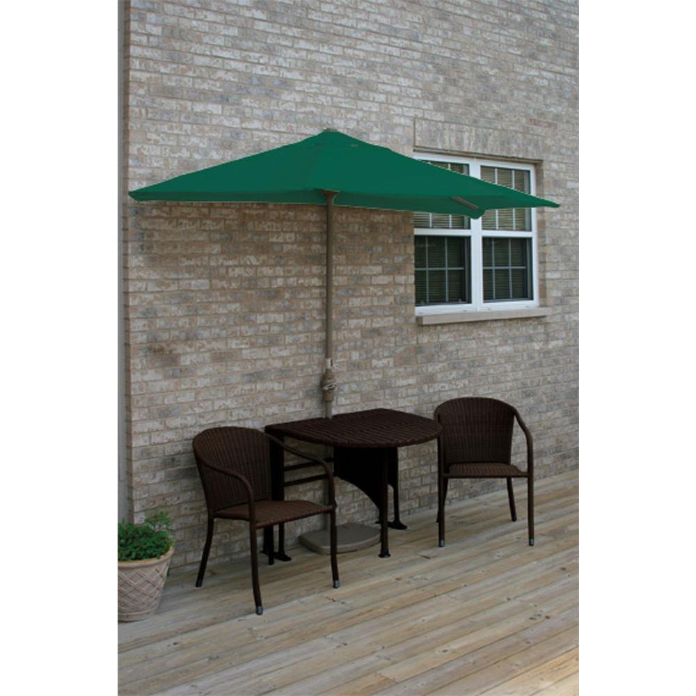 Blue Star Group Terrace Mates Adena 5-Piece Java Patio Bistro Set with 9 ft. Green Solarvista Half-Umbrella