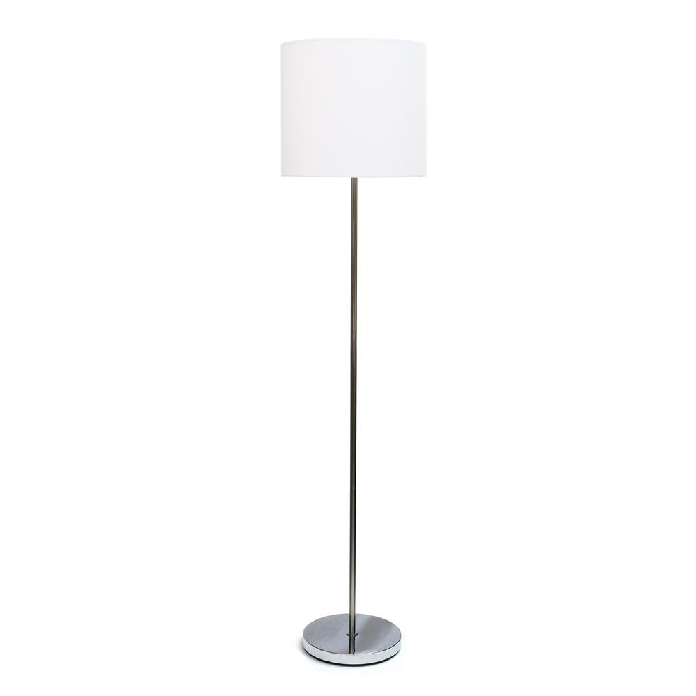 White Brushed Nickel Drum Shade Floor Lamp