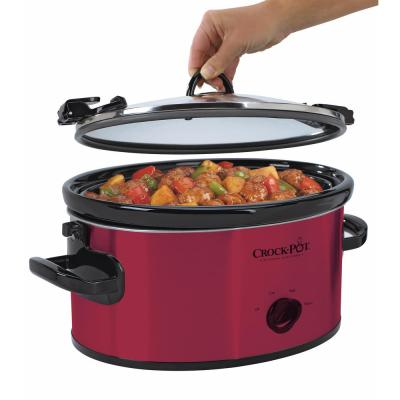 6 Qt. Red Stainless Steel Slow Cooker with Glass Lid and Keep Warm Setting