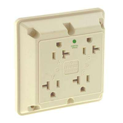20 Amp Hospital Grade Extra Heavy Duty Grounding 4-in-1 Outlet, Ivory