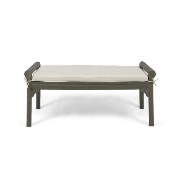 Noble House Nelson Modern Cream Fabric Bench with Gray Acacia Wood