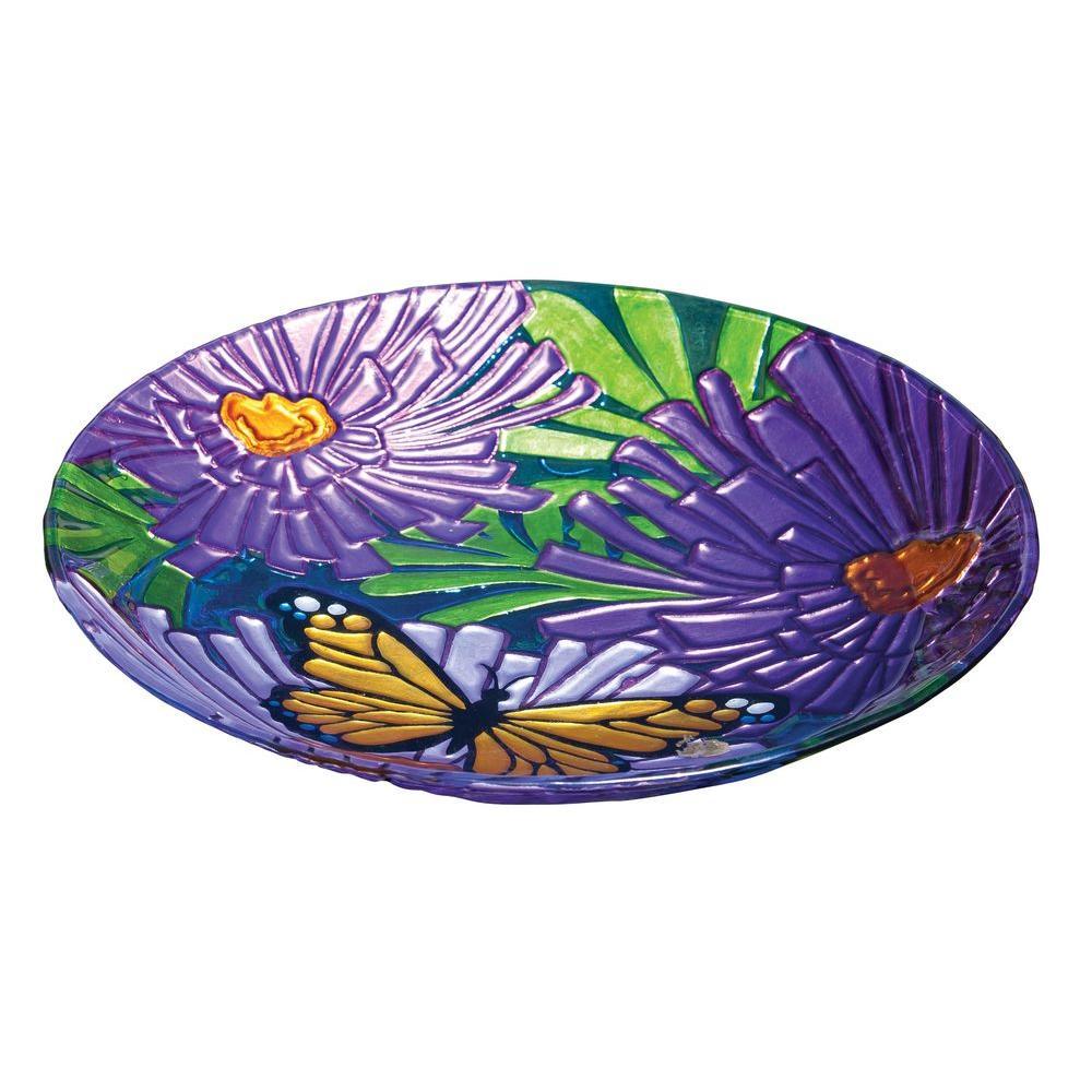 Monarch Floral Glass Birdbath