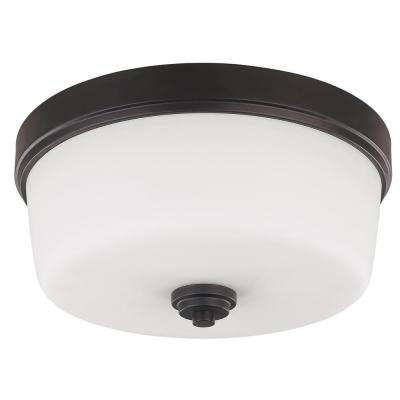 Jackson 3-Light Oil Rubbed Bronze Flush Mount Light with Flat Opal Glass Shade