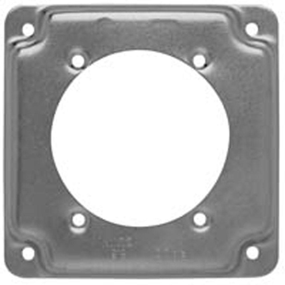 4 in. Square Cover, Exposed Work, 2.625 in. dia. 30-60A Receptacle