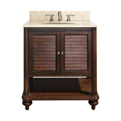 Tropica 25 in. W x 22 in. D x 35 in. H Vanity in Antique Brown with Marble Vanity Top in Galala Beige and White Basin