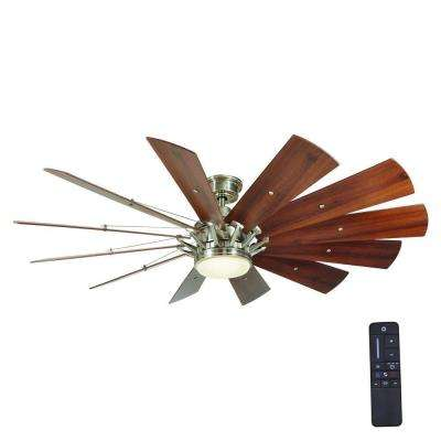 LED Indoor Brushed Nickel Ceiling Fan With Light Kit And Remote Control