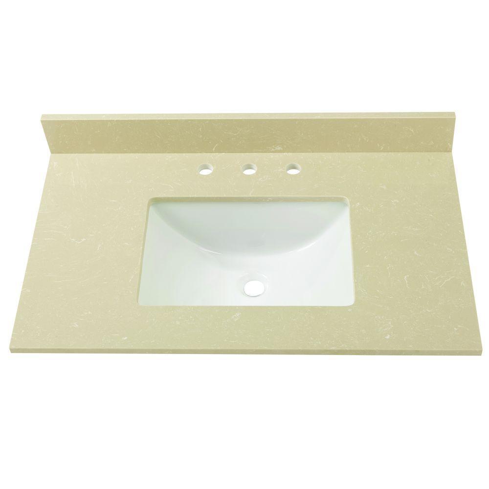 37 in. W Engineered Marble Single Sink Vanity Top in Crema Limestone