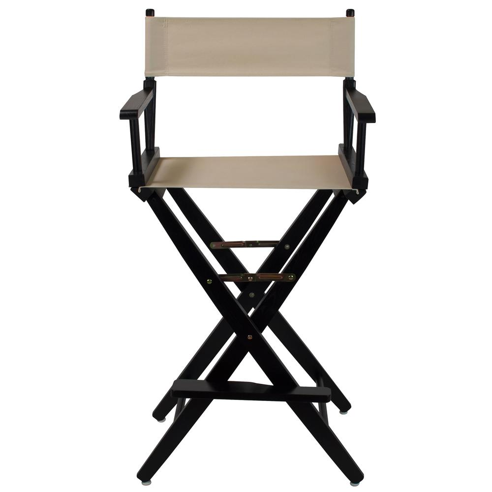 30 in. Extra-Wide Black Wood Frame/Natural Canvas Seat Folding Directors Chair