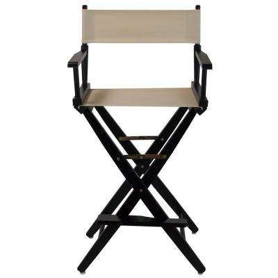 Extra-Wide Black Frame/Natural Canvas American Hardwood 30 in. Directors Chair