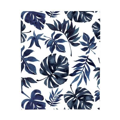 Super Soft Blue and White Palm Leaf Polyester Nursery Crib Fitted Sheet