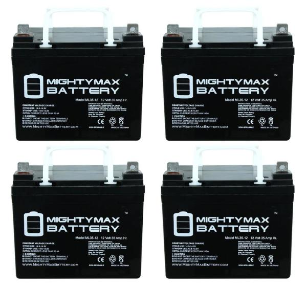 12-Volt 35 Ah SLA (Sealed Lead Acid) AGM Type Medical Mobility Replacement Battery (4-Pack)