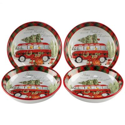 Home For Christmas Multicolor Soup & Pasta Bowl (Set of 4)