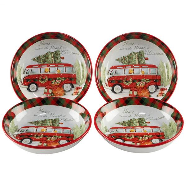 Certified International Home For Christmas Multicolor Soup & Pasta Bowl (Set