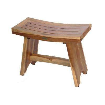 EarthyTeak Serenity 24 in. Eastern Style Shower Bench