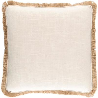 Charnwood Beige Solid Polyester 22 in. x 22 in. Throw Pillow