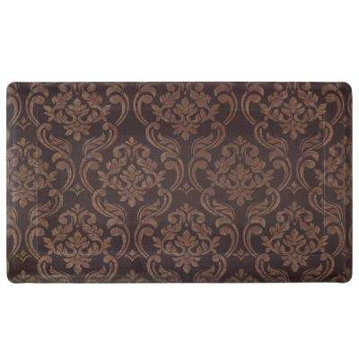 Chain Damask Chocolate/Linen 24 in. x 36 in. PVC Anti-Fatigue Kitchen Mat
