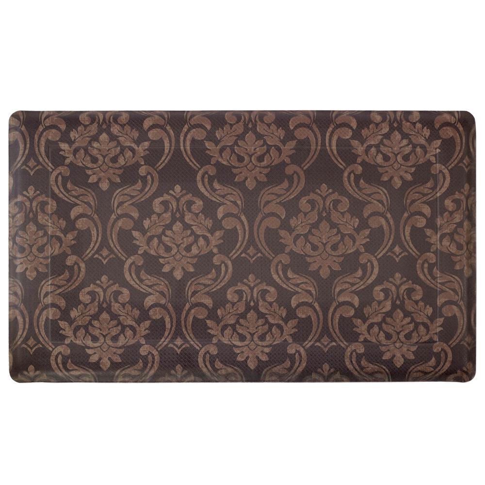 Chain Damask Chocolate/Linen 24 in. x 36 in. PVC Anti-Fatigue Kitchen Mat