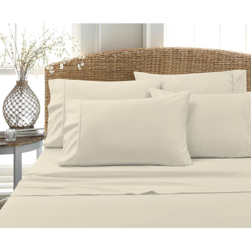 6-Piece White Solid Cotton Rich Queen Sheet Set
