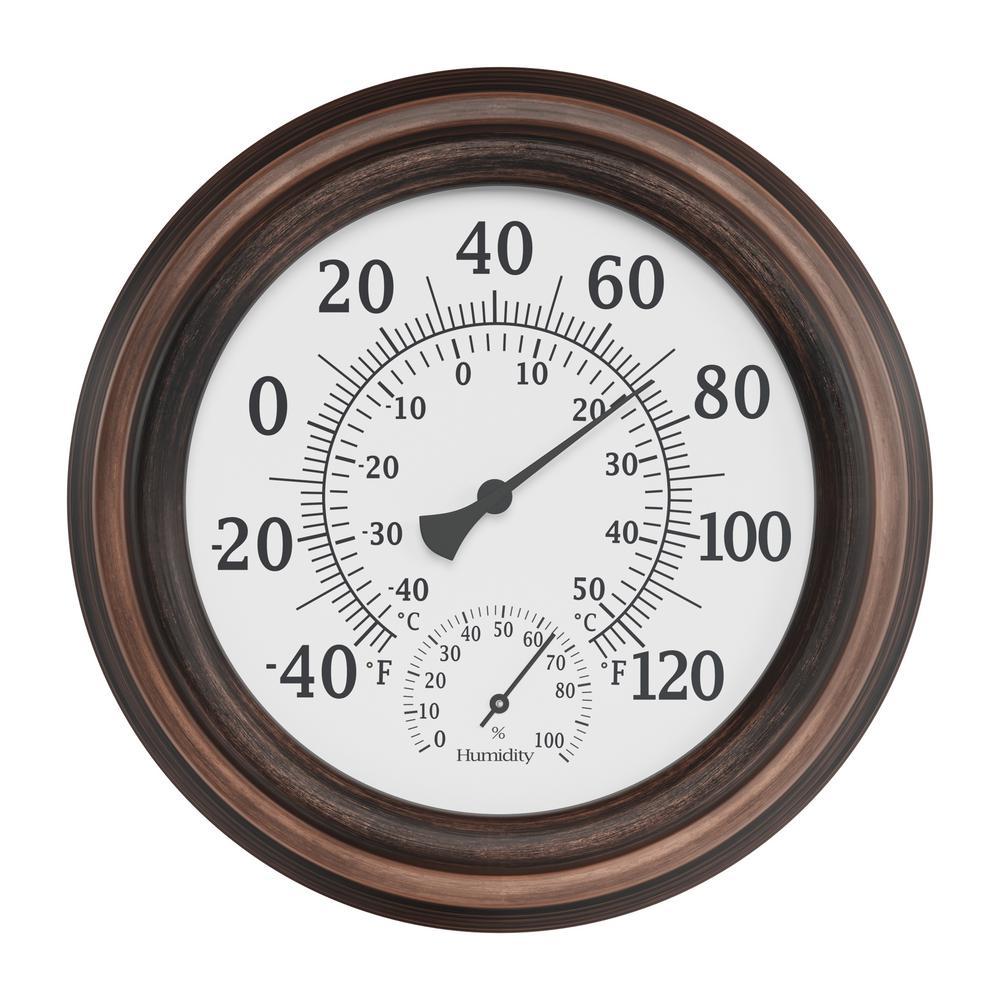 8 in. Indoor/Outdoor Wall Thermometer and Hygrometer Gauge in Bronze