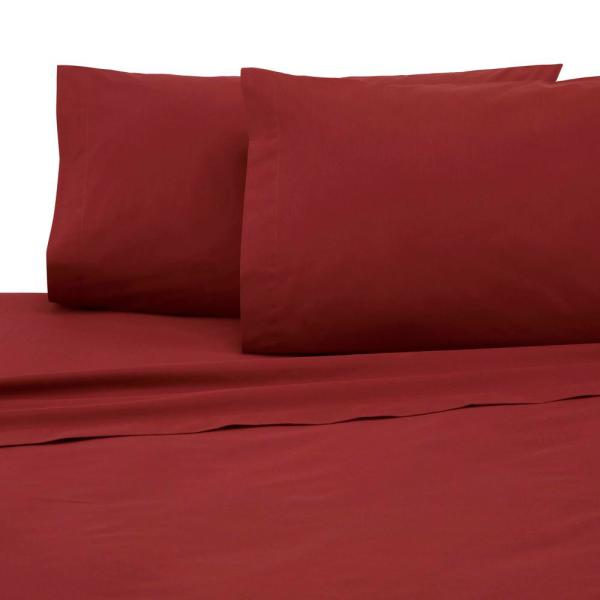4-Piece Paprika Solid 225 Thread Count Cotton Blend Queen Sheet Set