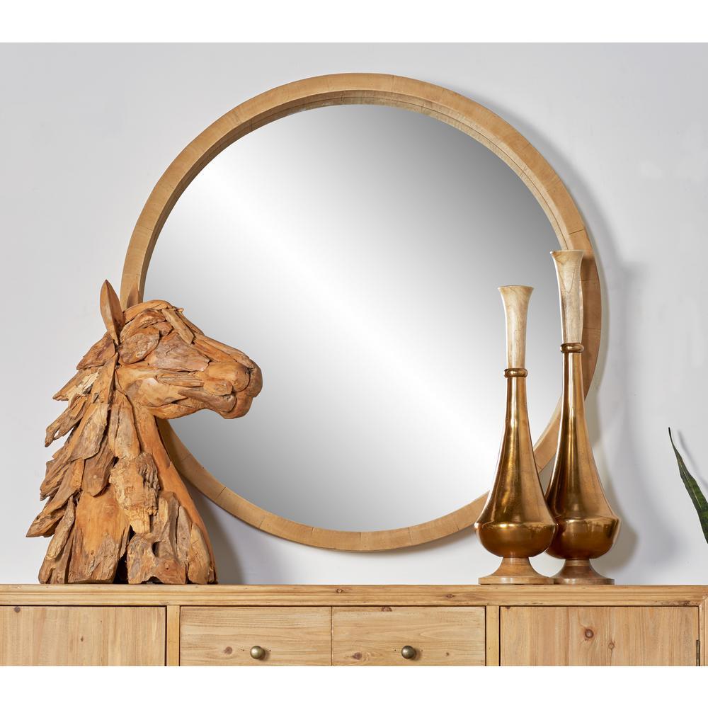 40 in. Round Brown Dresser Wall Mirror