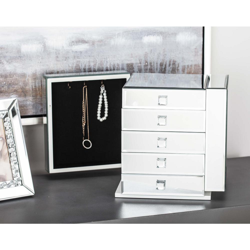 litton lane 10 in x 11 in modern mirror jewelry box 35744 the