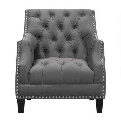 Perry Button Tufted Accent Chair in Charcoal