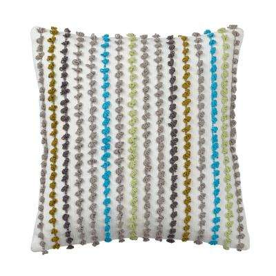 Whistler 20 in. x 20 in. Gray Striped Pillow Cover