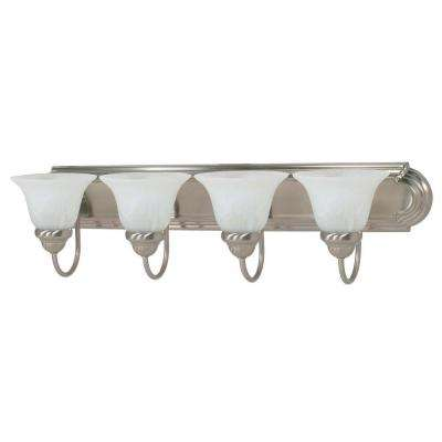 Ballerina 30 in. 4-Light Brushed Nickel Vanity Light with Alabaster Glass
