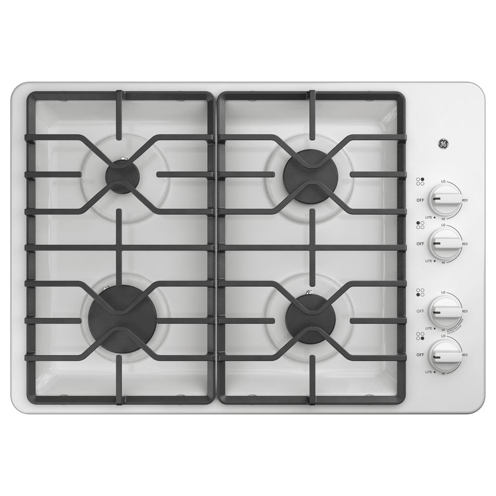 GE 30 in. Built-In Gas Cooktop in White with 4 Burners Including Power Boil Burners GE appliances provide up-to-date technology and exceptional quality to simplify the way you live. With a timeless appearance, this family of appliances is ideal for your family. And, coming from one of the most trusted names in America, you know that this entire selection of appliances is as advanced as it is practical. Color: White.
