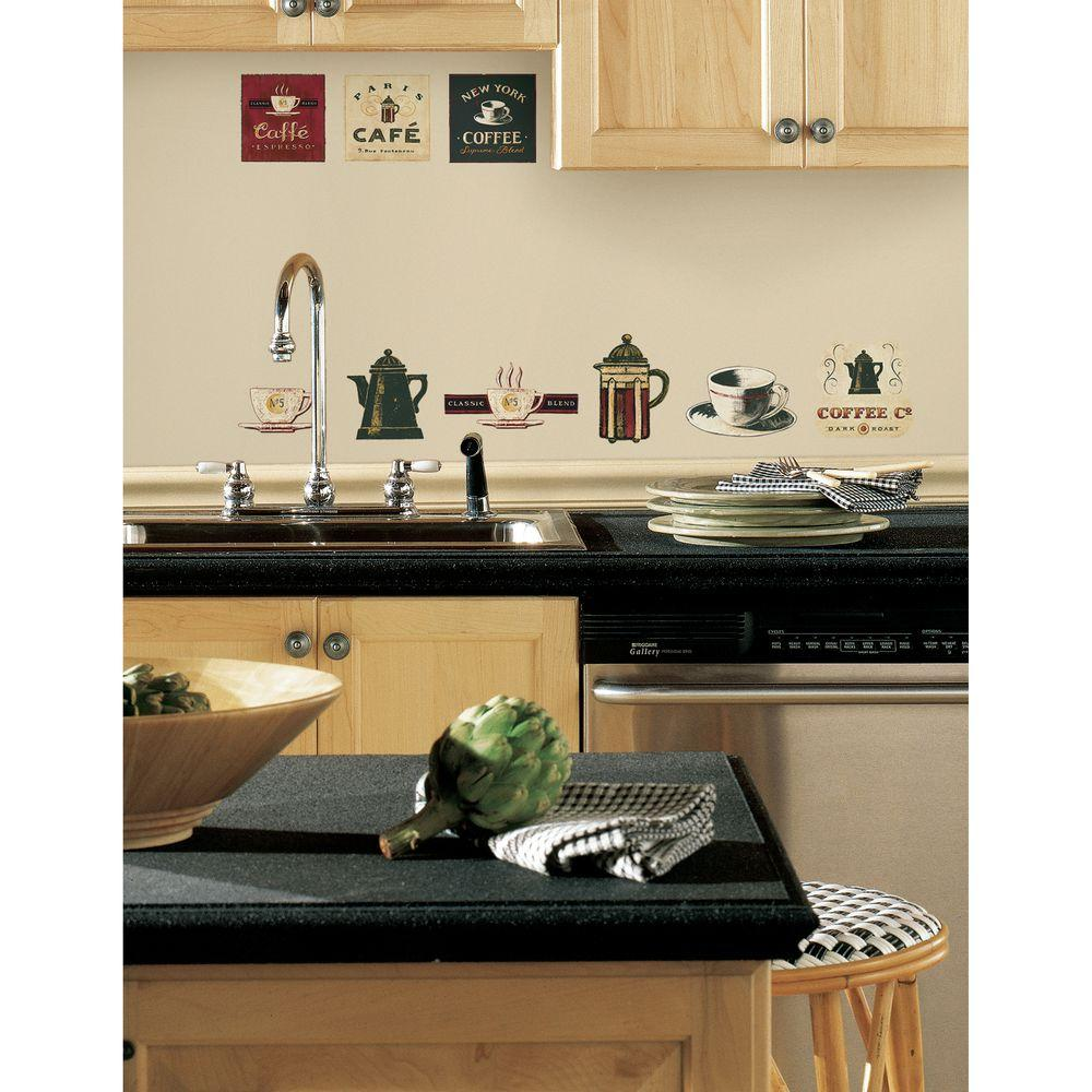 null 18 in. x 40 in. Coffee House 31-Piece Peel and Stick Wall Decals