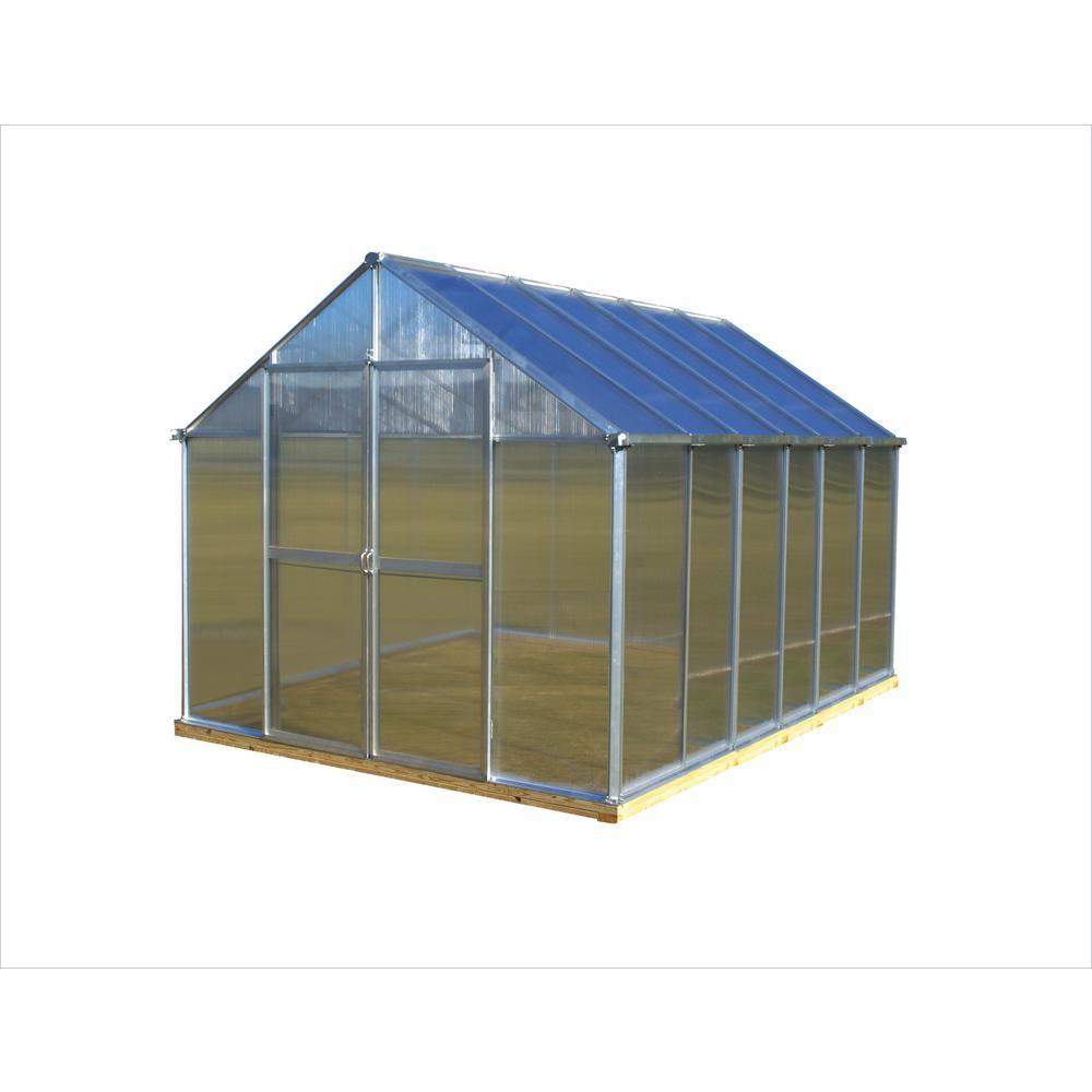 8 ft. x 12 ft. Aluminum Finish Greenhouse