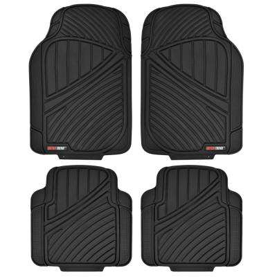 FlexTough MT-774 Black Heavy Duty 4 Piece All Weather Rubber Car Floor Mats