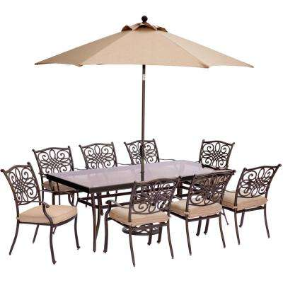 Traditions 9-Piece Outdoor Dining Set with Rectangular Glass-Top Table with Natural Oat Cushions, Umbrella and Base