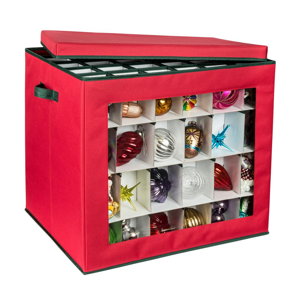 Honey-Can-Do Ornament Storage Container in Red (120-Count)