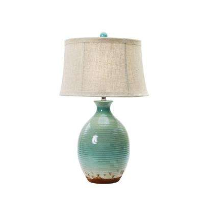 28 in. Ceramic Table Lamp in Ocean Spray Crackle