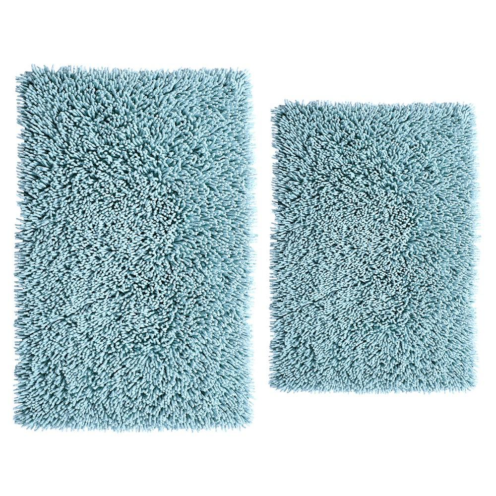Aqua 17 In. X 24 In. And 24 In. X 40 In. Chenille Shaggy Bath Rug Set (2 Piece), Blue