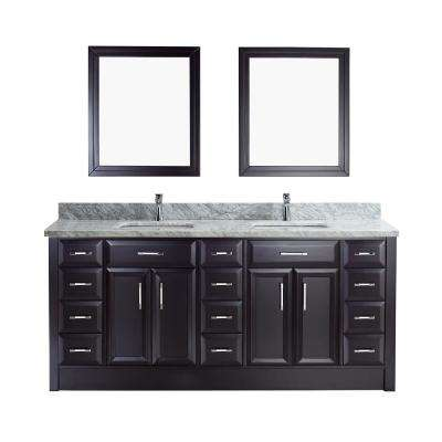 Calais 75 in. W x 22 in. D Vanity in Espresso with Marble Vanity Top in Gray with White Basin and Mirror