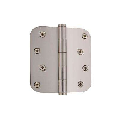 4 in. Button Tip Residential Hinge with 5/8 in. Radius Corners in Polished Nickel