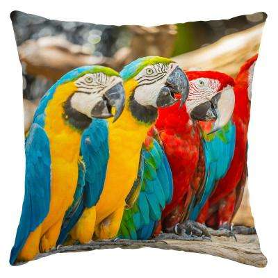 16 in. x 16 in. Parrot Trio Square Outdoor Throw Pillow