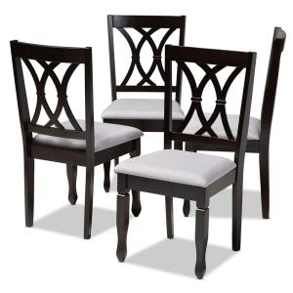 Baxton Studio Reneau Gray and Espresso Fabric Dining Chair ...
