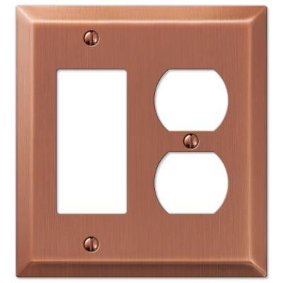 Metallic 2 Gang 1-Duplex and 1-Rocker Steel Wall Plate - Antique Copper