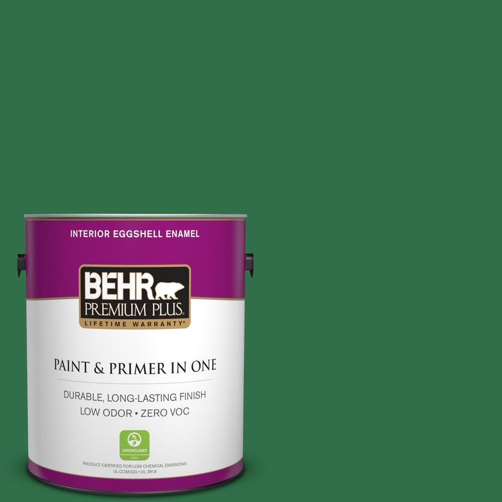 BEHR Premium Plus 1-gal. #S-H-450 Parsley Sprig Zero VOC Eggshell Enamel Interior Paint