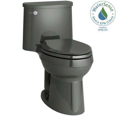 Adair Comfort Height 1-piece 1.28 GPF Single Flush Elongated Toilet with AquaPiston Flush Technology in Thunder Grey