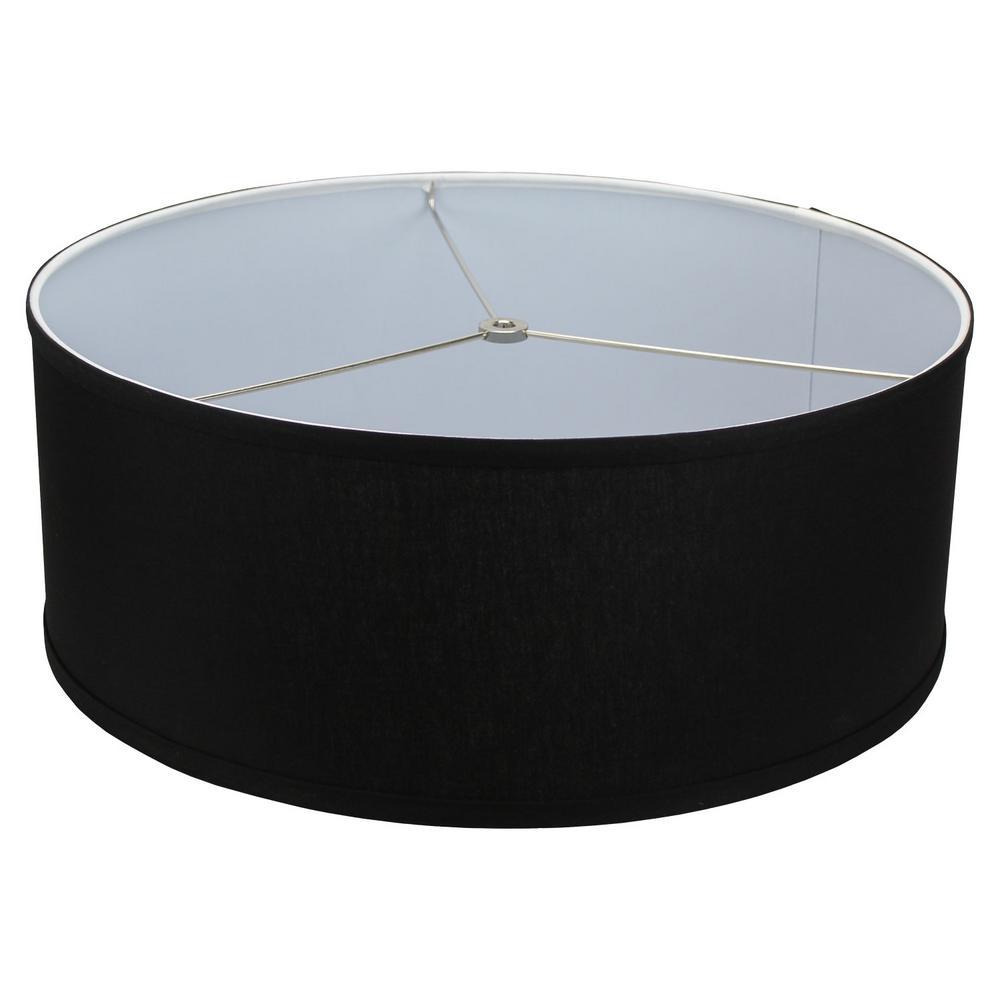 18 in. Top Diameter x 18 in. Bottom Diameter x 7 in. H Linen Black Drum Lamp Shade