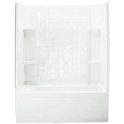 Accord 32 in. x 60 in. x 75-1/2 in. Bath and Shower Kit Right Drain in White with Backer Boards